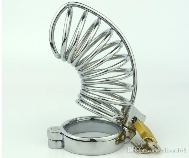 Medium Size 1 Style Stainless Steel Male Cock Cage Penis Ring Chastity Device Adult Bondage BDSM Product Sex Toy 5 size