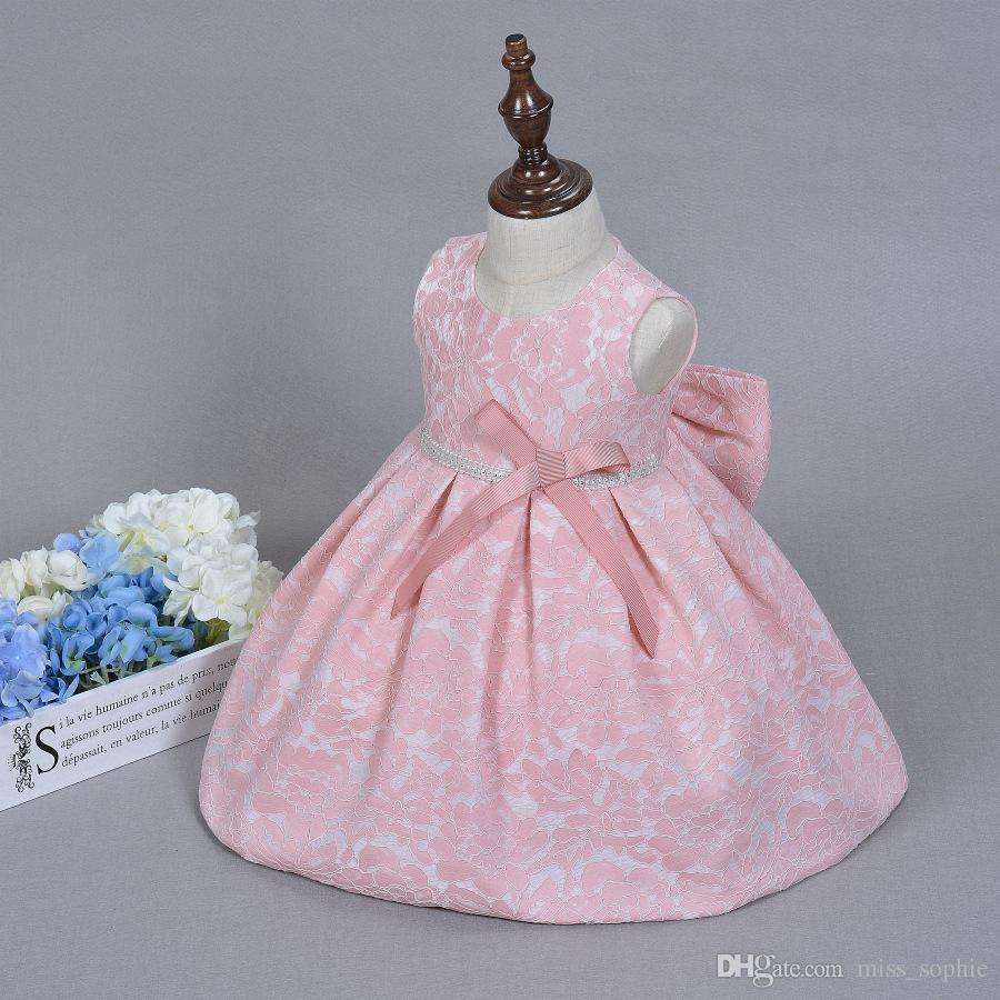 06bbc2798c13 Pink Flower Baby Girl Christening Wedding Party Pageant Lace Dress ...