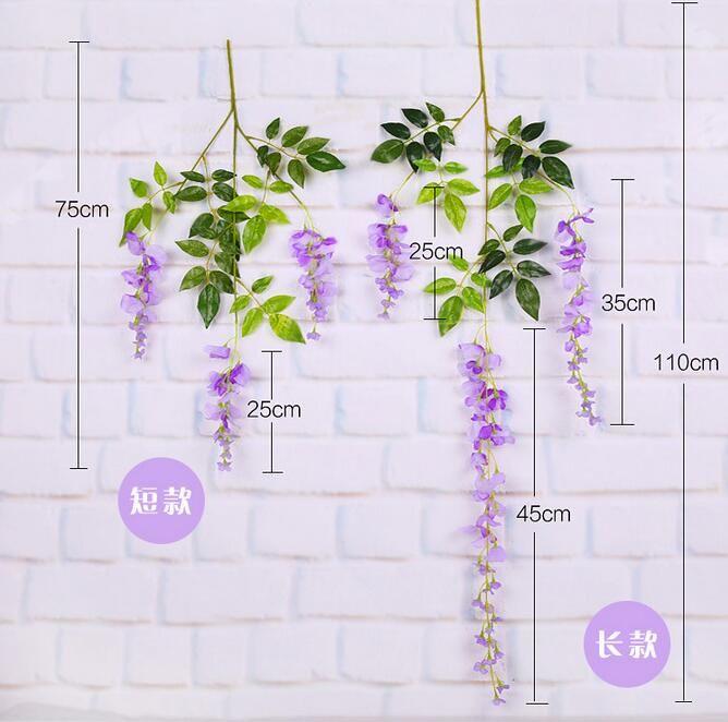 110cm 70cm Decorative Flowers Wreaths Wisteria Vine Wedding Decor Artificial Decorative Flowers Garlands for Party Wedding Tourism spot