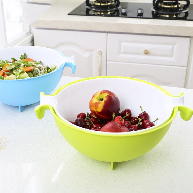 2019 Kitchen Sink Basket Plastic Draining Double Layer Washing Basket  Vegetables Strainer Fruit Washing Basket From Vapesmoke, $7.64 | DHgate.Com