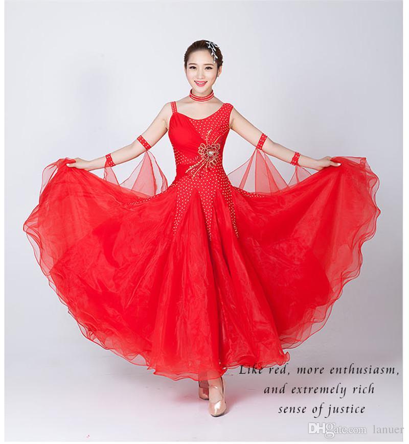 Red White Adult / Ballroom Dance Dress Modern Modern Waltz Standard Dance Dress Dress Sexy abito strass senza maniche in strass