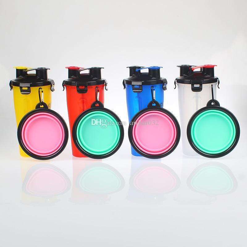 Portable Popware Hund H-Duo Dual-Kammer-Trinkflasche mit zusammenklappbaren Pet Bowl Outdoor-Haustiere Wasser Essen Dual-Purpose Bowls Cup Bunte