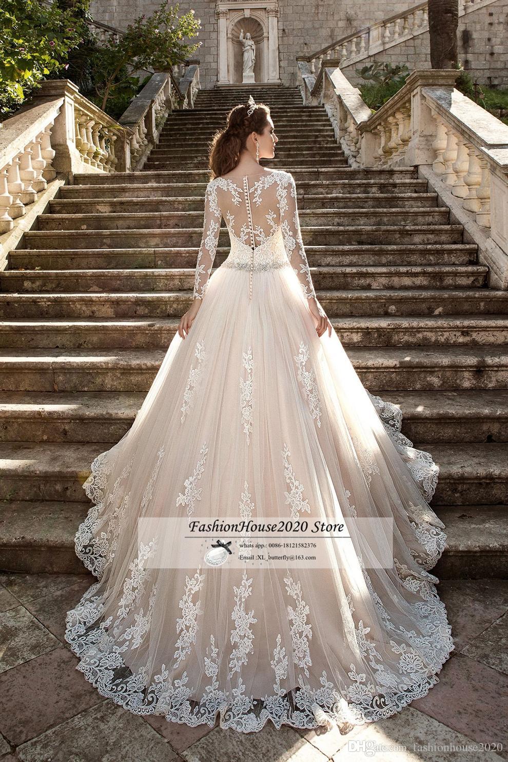 luxury Champagne Plus Size Lace Wedding Dresses Long Sleeve Sheer Illusion Lace Back Bridal Gowns Princess Bride Dresses Vestidos de novia