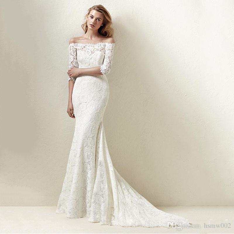 c40316baa463 Junoesque Lace Off The Shoulder Neckline Natural Waistline Mermaid Wedding  Dress Glamorous Boat Neckline Lace Half Sleeves Wedding Gowns Big Ball Gown  ...