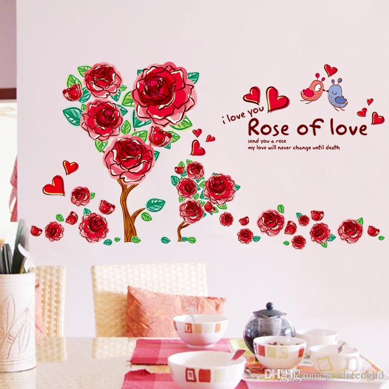Red Color Rose Flower Wall Sticker Pvc Material Wall Decals Diy Plant Home  Decor For Living Room Sofa Background Papel De Parede Full Wall Decals Full  Wall ... Part 81