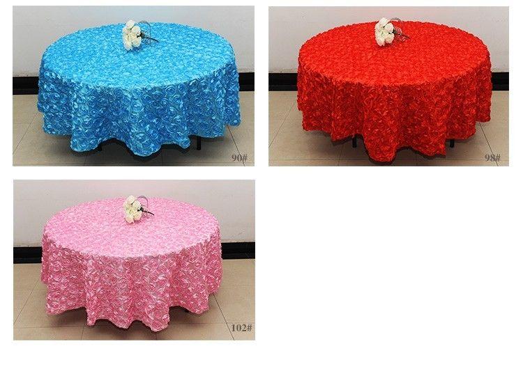 White 2.6 m Wedding Round Table Cloth Overlays 3D Rose Flower Tablecloths Wedding Decoration Supplier