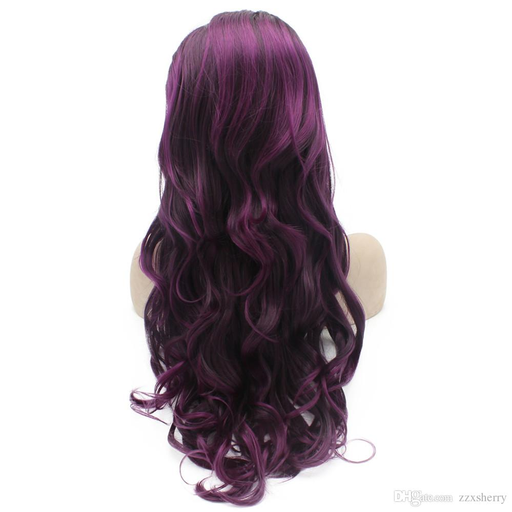 Long Wavy Purple Highlight Brown Synthetic Lace Front Wig Natural