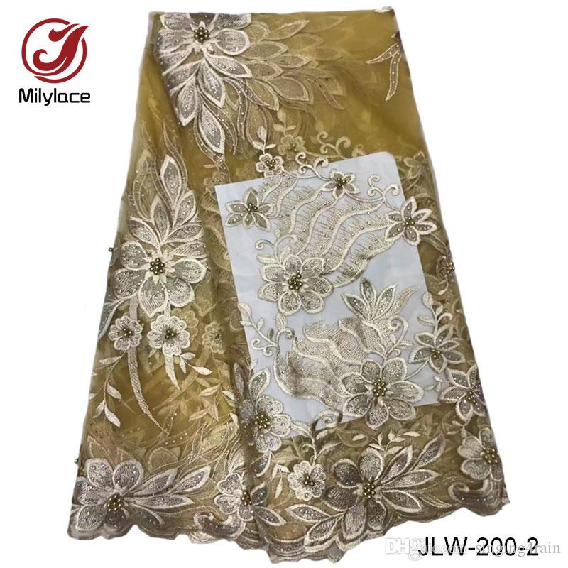 Hot sale African lace fabric with stones and beads available polyester material French net lace fabric fo wedding dress JLW-200