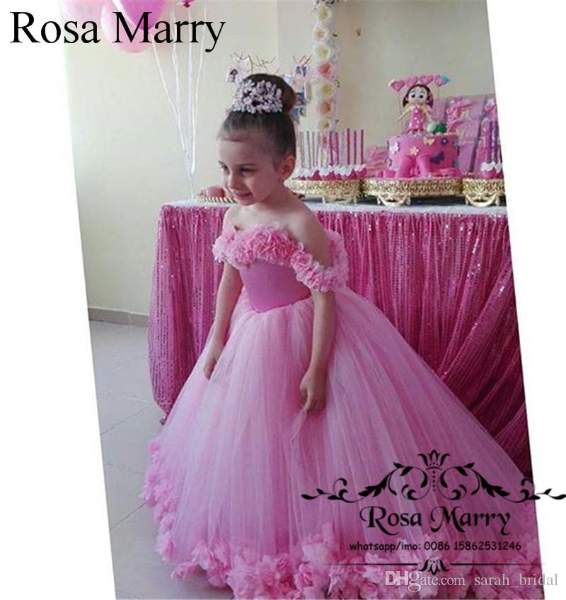 Pink 3D Floral Ball Gown Pageant Flower Girls Dresses 2020 Off Shoulder Puffy Tulle Christmas Toddlers Kids Teens Girls Birthday Party Gowns