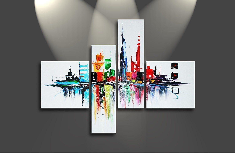 Compre 4 Panel Arte Abstracto Moderno Enmarcado A Mano Paisaje ...