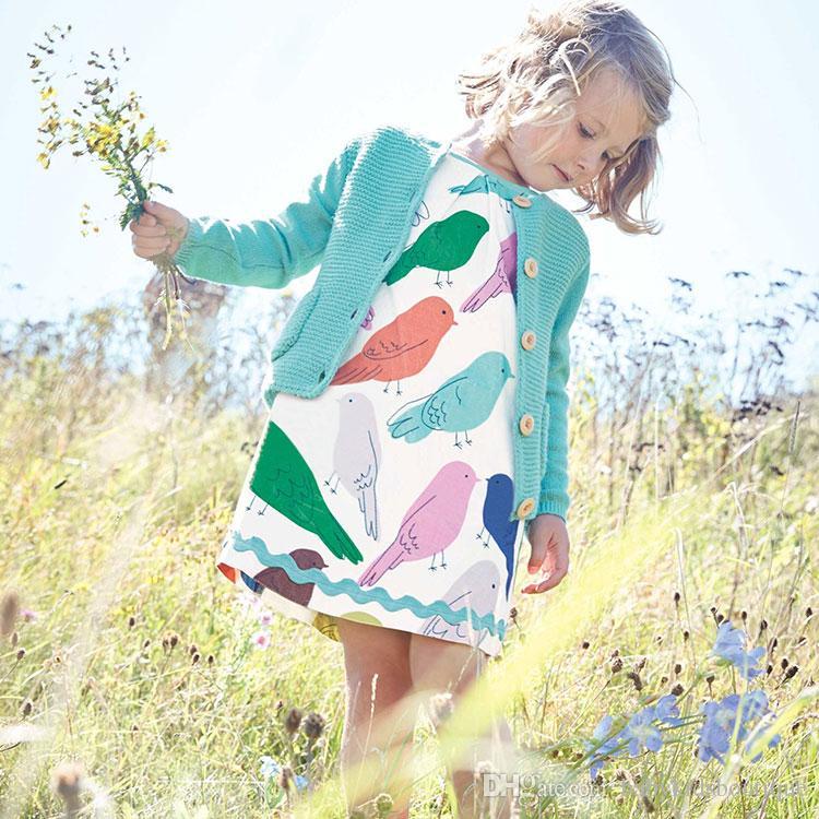 Filles robes enfants manches courtes jolie colorée dessin animé oiseau imprimé coton robe girls été robe douce vêtements enfants