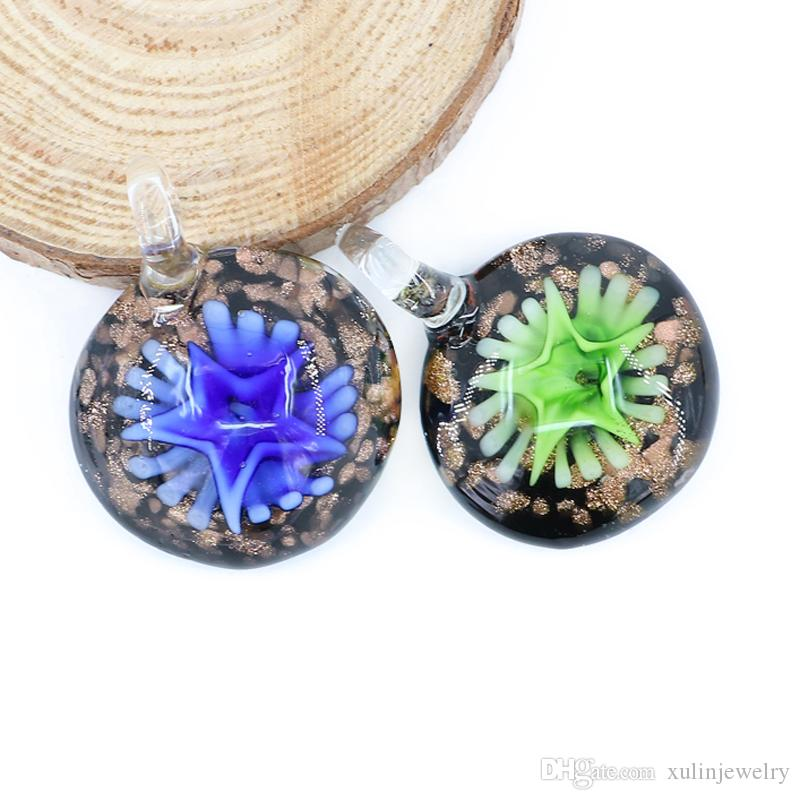 wholesale flat round heady glass pendant 3d trippy lampwork arts gold sand inner pendants for jewelry necklaces making box mc0077 number pendant necklace - Heady Glass Pendants