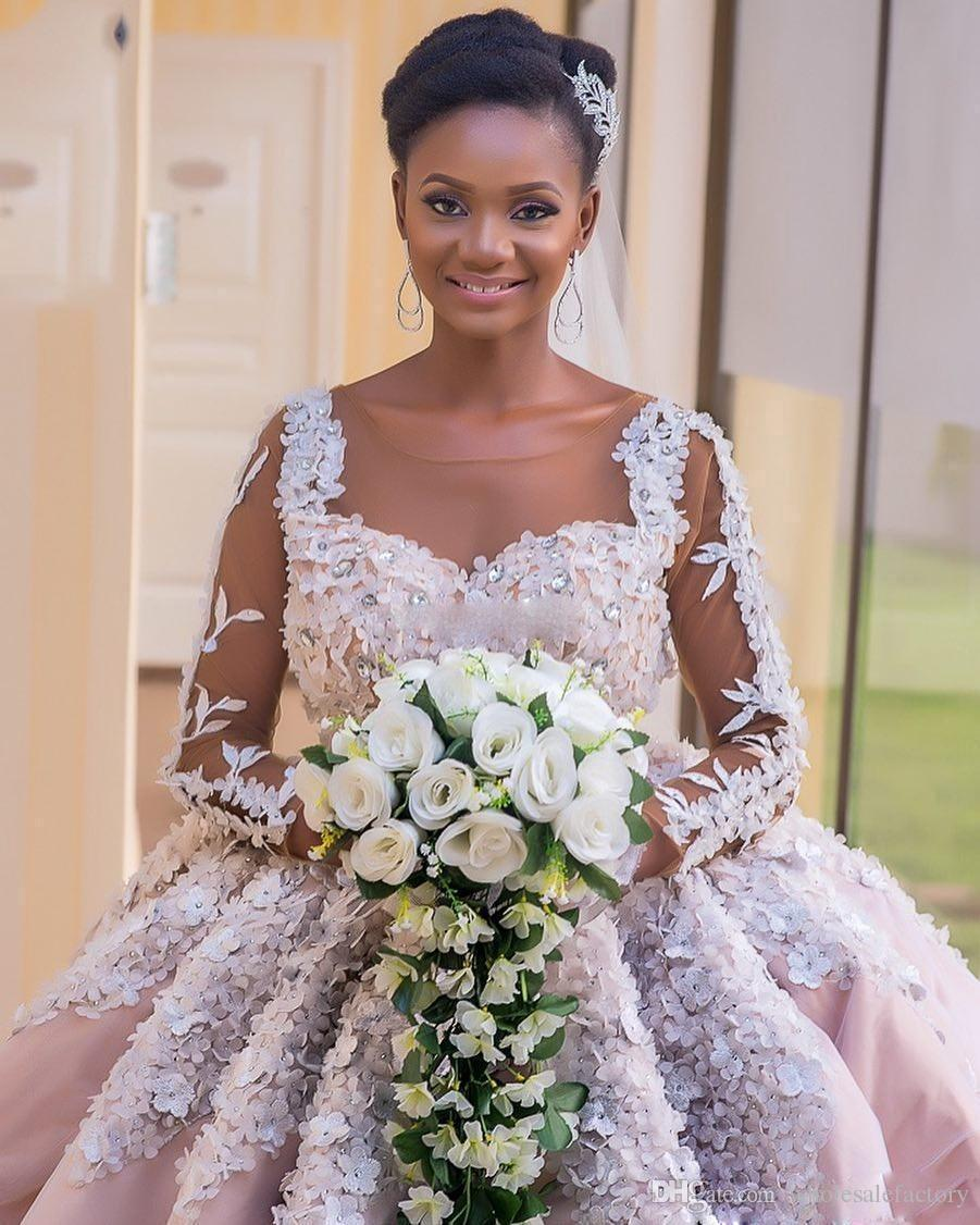 Luxury 3D Appliques Ball Gown Wedding Dresses Long Sleeves Sheer Jewel Neck Wedding Gowns Crystal Africa Girls Bridal Dresses