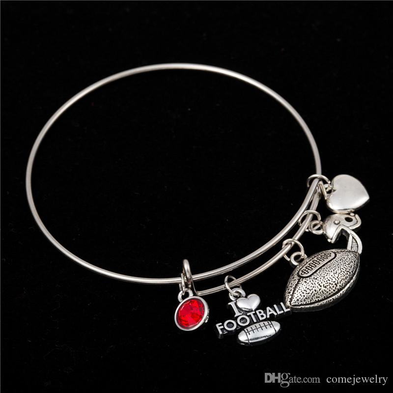 Myshape Cool Fashion Stainless Steel DIY Charms Bracelet Diameter 70mm Sportsman Jewelry Football Fans Red Crystal Pendant Bangle Wristbands