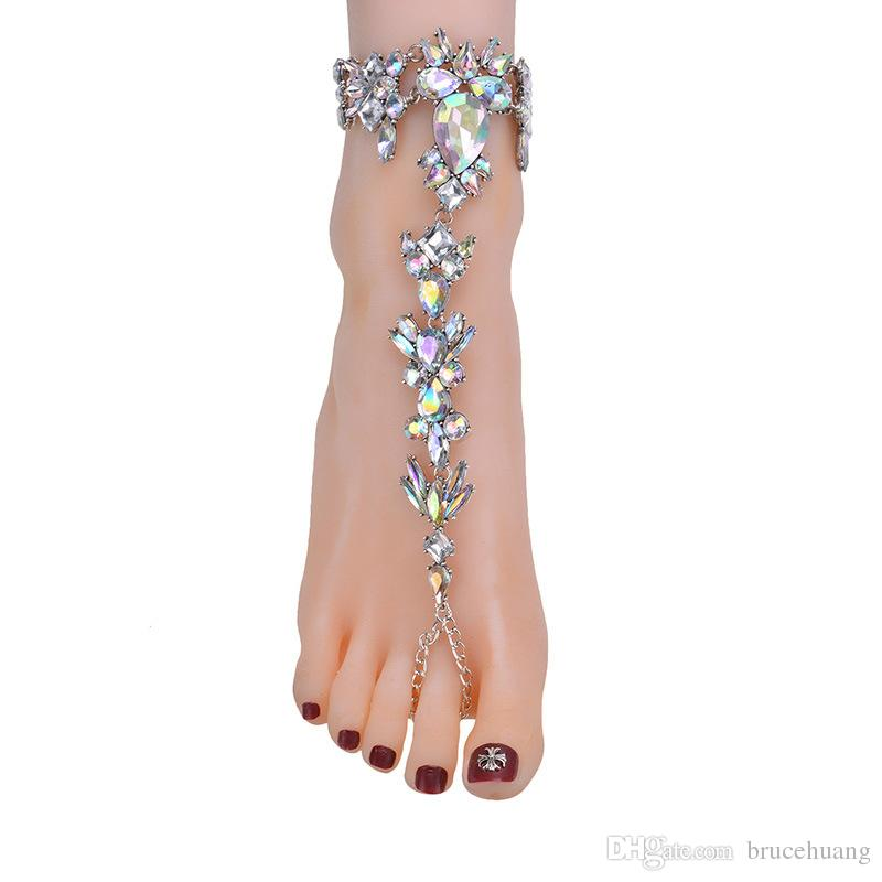 New Ankle Bracelet Wedding Barefoot Sandals Beach Foot Jewelry Sexy Pie Leg Chain Female Boho Crystal Anklet