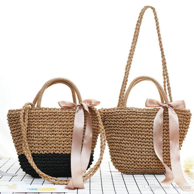 344bfd09863d 32*22cm Summer Ribbon Bowknot Straw Beach Bag Handmade Woven Handbags  Causal Shoulder Bags for Women Boho Big Shopping Tote
