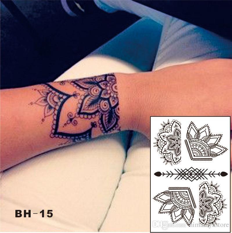 Bh 15 Beautiful Half Lotus Black Henna Temporary Tattoo With Arrow