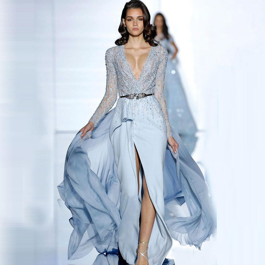 4211c82ebb Light Blue Sexy Slit Evening Dresses 2017 Elie Saab Dresses Embellished  Beaded Long Sleeves Deep Slit Ruffles Chaple Train Chiffon Gown Stunning  Evening ...