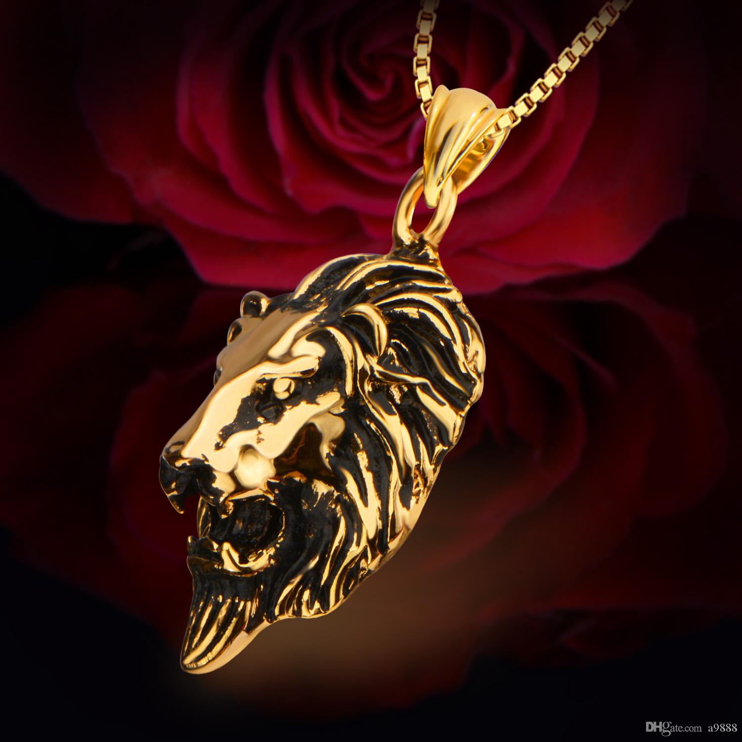 Europe and the United States fashion jewelry 18K gold back ancient domineering lion pendant necklace men 's jewelry