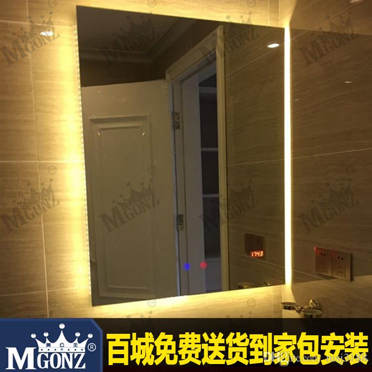 Bathroom Mirrors Backlit modern minimalist style, led backlit bathroom mirror with time