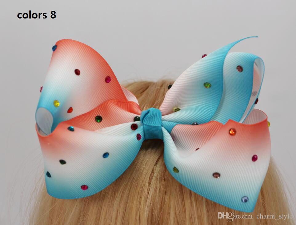 2 стиль в наличии ! 6 дюймов JoJo большой ombre Бумеранг волос Лук горный хрусталь волос Лук для новорожденных девочек малышей аксессуары для волос 12 шт./