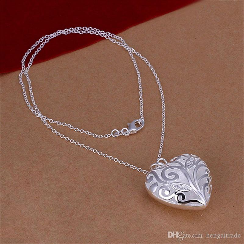 925 Sterling silver plated Inlaid stone heart necklace -20''LKNSPCN224