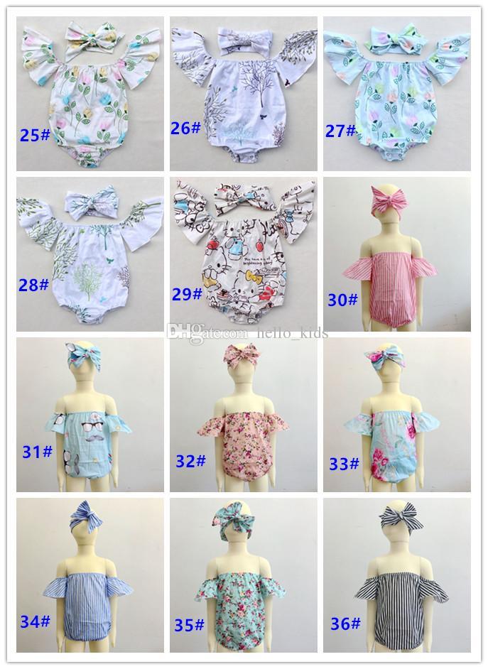 2017 Adorável Da Criança Da Roupa Do Bebê Meninas Floral Plissado Borboleta Mangas Tops Camisa de Algodão Roupas Outfits + Handband Define Fotografia Prop