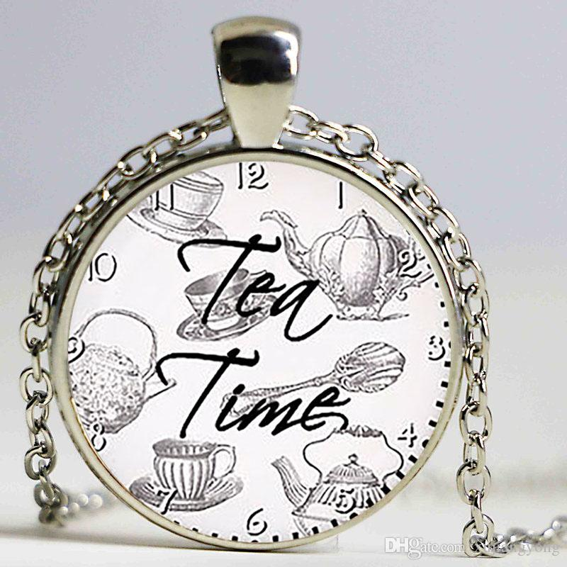 Tea Time Quote Pendant. Quote Necklace. Quote jewelry, tea lovers. Birthday gift glass cabochon pendant, silver plated