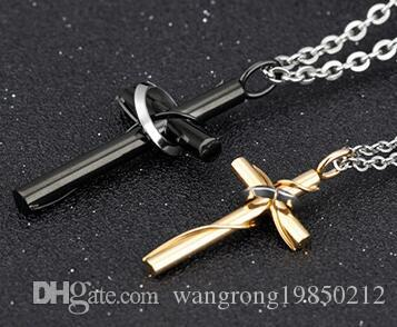 2cc1db12f1 Black And Gold Cross Pure Steel Couples with Chain Necklace Two ...