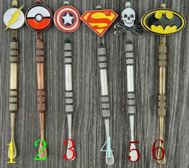 New Arrival 6 색 Dabber tool with fashion deign stickers Pokeball, Batman, Captain, superhero, Flash and Skull wax Dab 툴 120mm Jars Tool