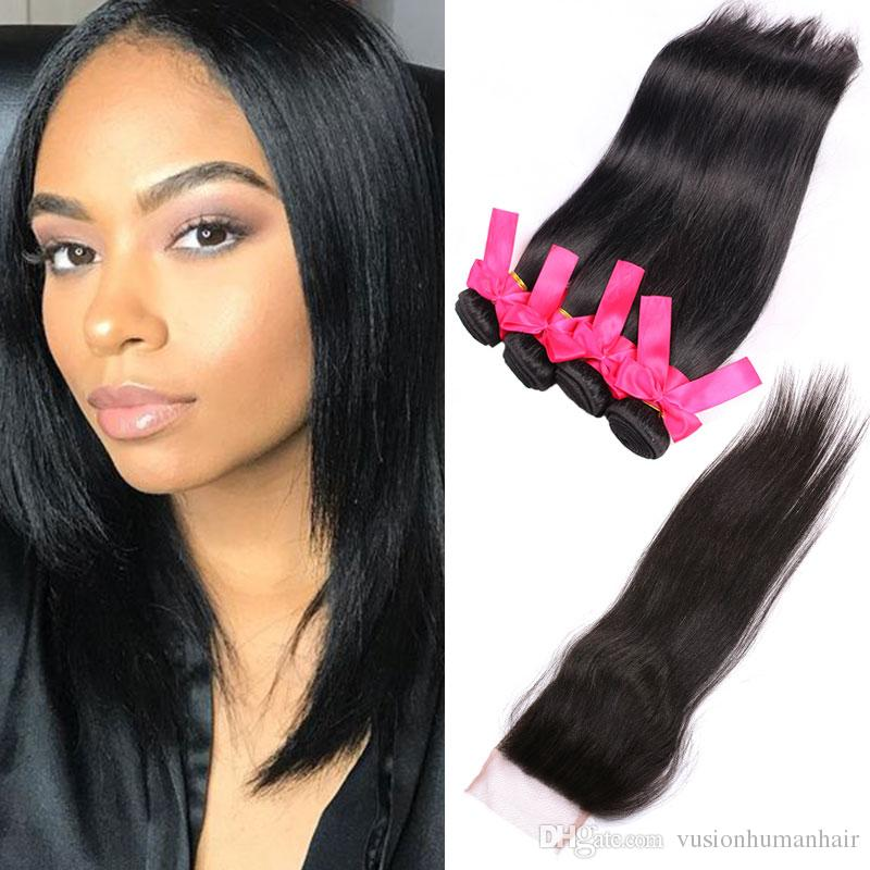 Kinky Straight Weaving Hair 4 Bundles With Closure Double Drawn