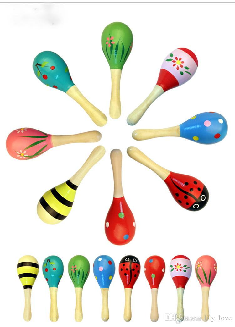 11CM Baby Wooden Toy Rattle Baby cute Rattle toys Orff musical instruments Educational Toys