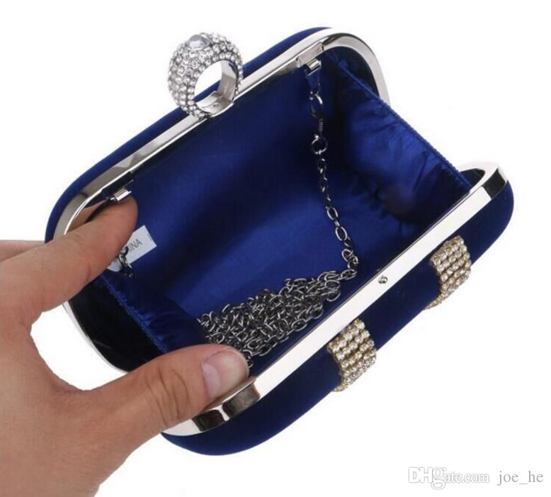 Top selling Fashion Female Diamond U Shape Diamond Faux Suede Ring Velvet Evening Bag Luxury Finger Clutch Purse Wedding With Chain