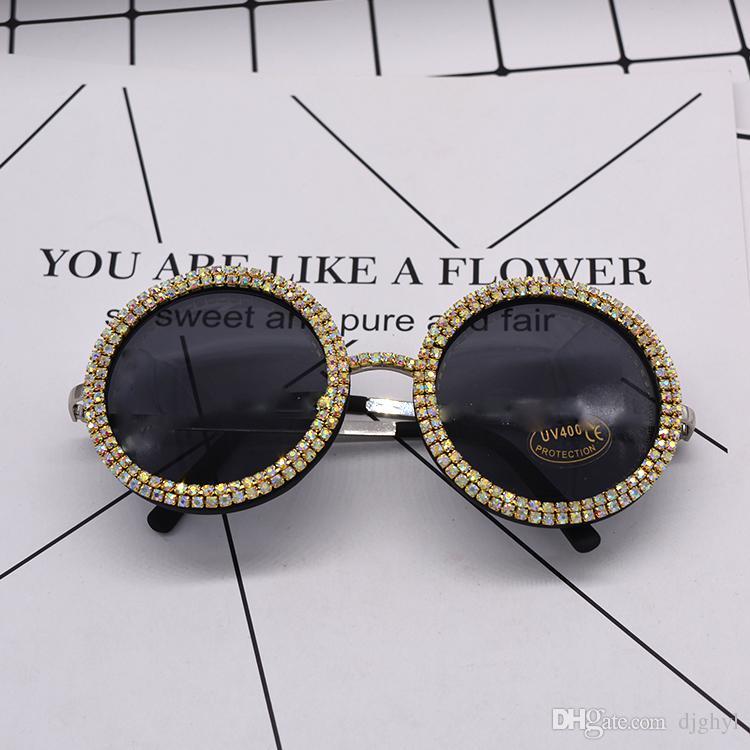 new women fashion sunglass crystal shining oversize baroque sunglasses black full frame big round sun glasses beach outdoor accessories