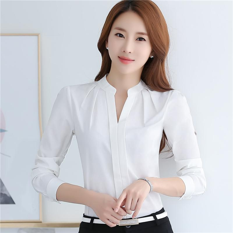 716752be61a 2019 Spring Autumn Women Tops Long Sleeve Casual Chiffon Blouse Female V  Neck Work Wear Solid Color White Office Shirts For Women Blusa From  Fashion sexy