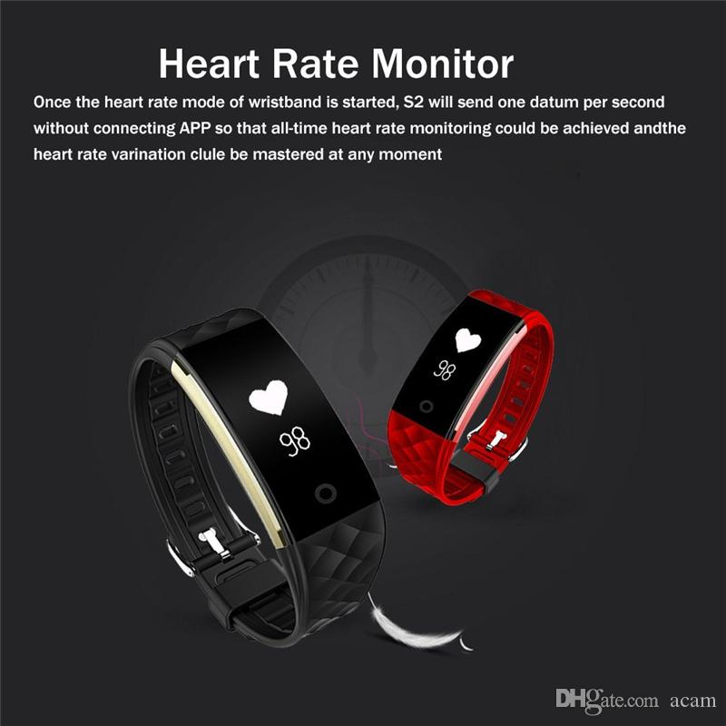 S2 Bluetooth Smart Band Wristband Heart Rate Monitor IP67 Waterproof Bracelet For Android IOS Apple iPhone Smartphone With Retail Packaging