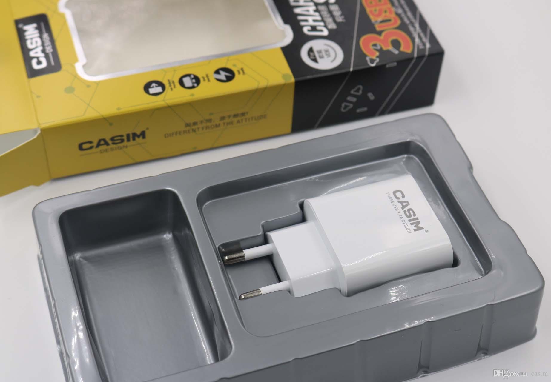 Yeni Casim Orijinal yüksek kalite 5 V 3.4A Tak Seyahat Evrensel ABD, AB Ev Duvar Şarj 3 USB Portları Akıllı Hızlı Istikrarlı Şarj