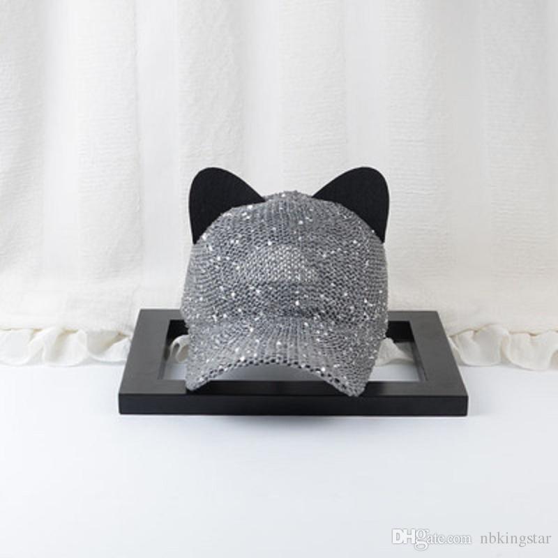 Moda Kadın Kedi Kulak Pul Bling Örgü Beyzbol Şapkası Kavisli Ağız Snapback Şapka Hip Hop Kapaklar Yaz Katı Güneş Şapka