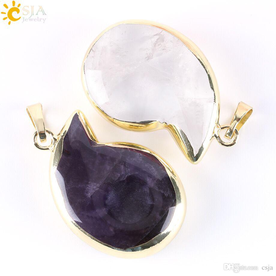 CSJA 18K Gold Plated Sliders Natural Stone Statement Necklace Pendant Comma Shape Charms 2017 Summer Crystal Quartz Jewelry E267 A