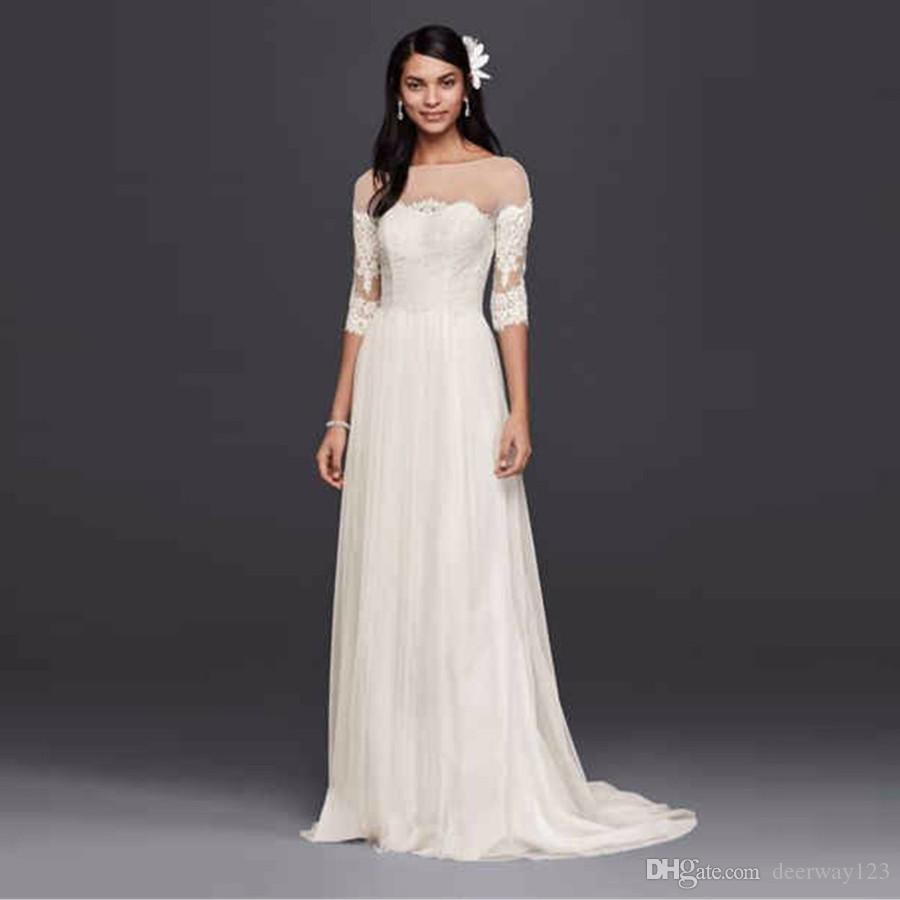 Ilusão decote vestido de noiva com mangas de renda a linha branca chiffon sheer voltar varrer trem apliques vestidos de noiva wg3817