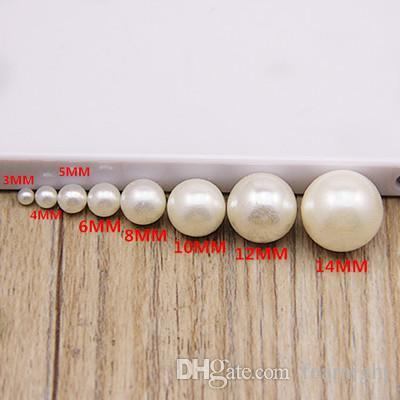 beige white color DIY handmade beaded jewelry accessories material ABS imitation pearls scattered beads without holes beads