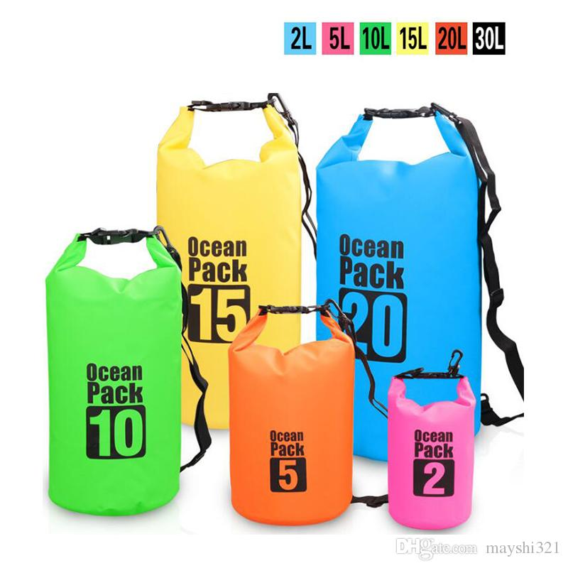 df71538e3a1e 2019 Outdoor Waterproof Bag PVC Dry Bag Wholesale Bucket Pouch Drifting  Swimming Floating Storage Boating Travel Kit Beach Water Bag From  Mayshi321