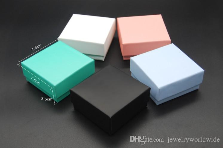 5 Different Color Jewelry Box Mostly For Earrings Ring Necklace Pendant Jewellery Packaging And Display 7.5X7.5X3.5cm