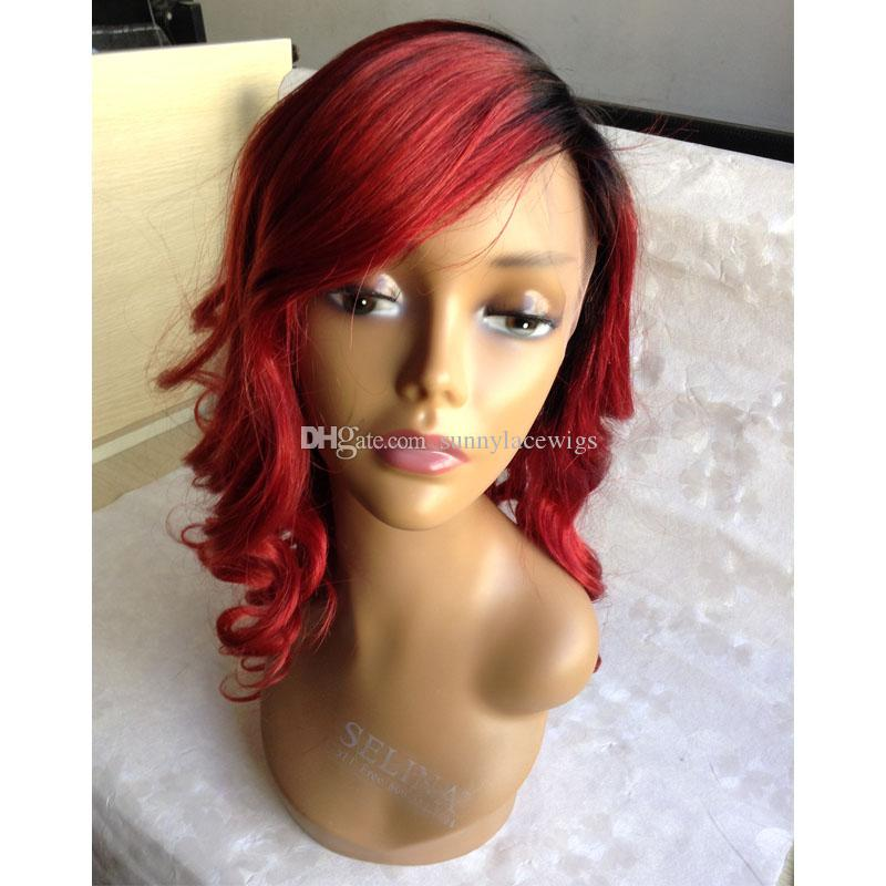 Hot Selling Wigs With Side Bang Brazilian Human Hair Glueless Red Ombre Front Lace Wig Ombre Full Lace Wig With baby Hair