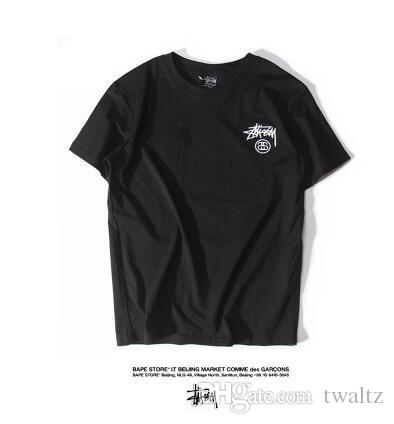aa4458371a Summer Japanese Brand Retro Solid Embroidery LOGO Simple All-match Classic  Short Sleeved T-shirt Lovers And Tee