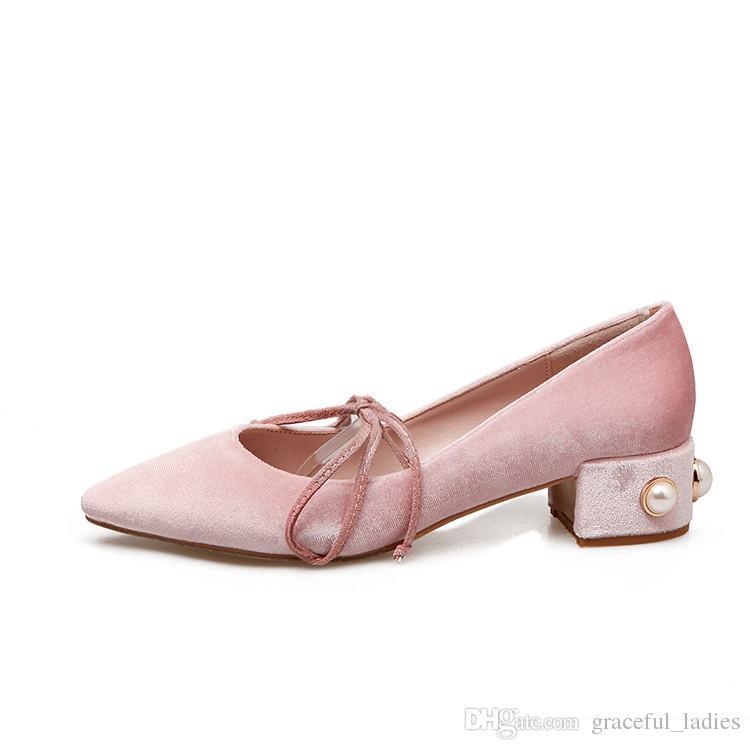 Light Pink Velvet Wedding Shoes Low Heels Pearls At Square Heels ...