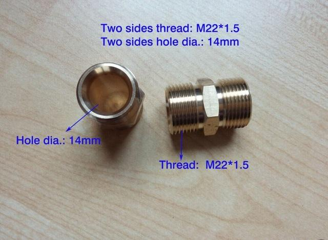 Wholesale 100 Copper Car Washer Hose Connector Two Ends Thread M22 1 5 14mm Two Ends Hole Dia 14mm