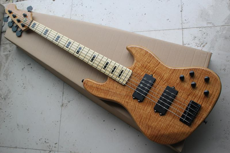 Guitar Factory New Custom 20 Frets 5 Strings Natural With Flame Wood Color Electric Bass Black Hardware 1 2 Travel Online