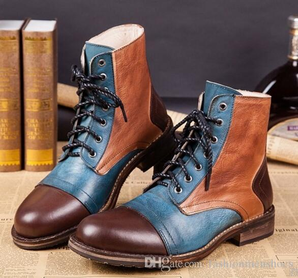 Autumn fashion casual men's boots western cowboy boots men mixed color print leather men's working boots