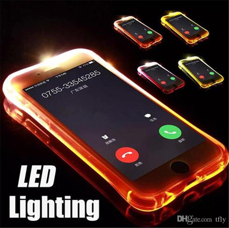 size 40 2d9db 916ad LED TPU Flash Light Up Case Remind Incoming Call lighting case for iPhone X  8 7 6 6S Plus Samsung S8 plus S7 S6 Edge Clear Transparent